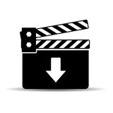 Download video icon. Download video file icon on white background Royalty Free Stock Photos