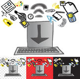 Download from the web. A computer with download logo on screen is surrounded by various computer based icons. With four different backgrounds; white, black, red Stock Photography