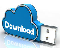 Download-Wolken-USB-Stick bedeutet Dateien Lizenzfreie Stockfotografie
