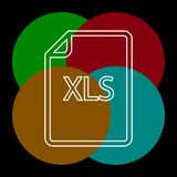 Download XLS document icon - vector file format. Symbol. Thin line pictogram - outline editable stroke royalty free illustration