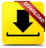 Download yellow square button red ribbon in corner. Download isolated on yellow square button with red ribbon in corner abstract illustration Stock Photos