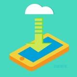 Downloading-Anwendung vom Wolkenspeicher Stockfoto