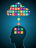 Downloading applications from the cloud to the head. Mobile applications are installed in the brain, replacing the mind Royalty Free Stock Image