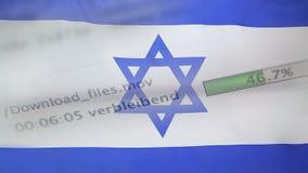 Downloading archiviert auf einem Computer, Israel-Flagge stock video
