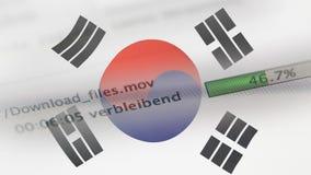 Downloading archiviert auf einem Computer, Südkorea-Flagge lizenzfreie abbildung
