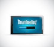 Downloading bar inside a tablet. illustration Stock Photo