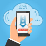 Downloading from cloud concept. Royalty Free Stock Images