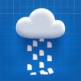 Downloading from cloud storage. Process - documents dropping down Stock Images