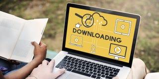 Downloading-Computer-Speicher-Wolken-Technologie-Konzept Lizenzfreies Stockfoto