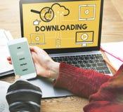Downloading-Computer-Speicher-Wolken-Technologie-Konzept Lizenzfreie Stockfotos