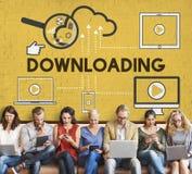 Downloading-Computer-Speicher-Wolken-Technologie-Konzept Stockfoto