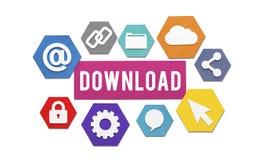 Downloading, das on-line-Internet-Konzept lädt Lizenzfreies Stockfoto