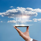 Downloading data from the cloud. Downloading data from the cloud concept disegn stock photography