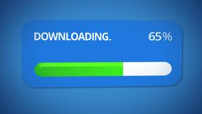 Downloading dialog window, progress bar turning green, process completed, done. Stock footage stock illustration