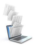 Downloading of documents. Downloading dcuments in laptop. 3d illustration Royalty Free Stock Photos