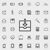 Downloading the file icon. Detailed set of minimalistic icons. Premium graphic design. One of the collection icons for websites, w. Eb design, mobile app on Stock Photo