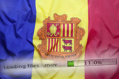 Downloading files on a computer, Andorra flag Stock Image