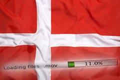 Downloading files on a computer, Denmark flag Royalty Free Stock Photos