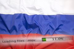 Downloading files on a computer, Russia flag Royalty Free Stock Images