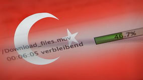 Downloading files on a computer, Turkey flag. Downloading files on a computer with Turkey flag stock video footage