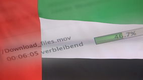 Downloading files on a computer, United Arab Emirates flag stock footage