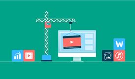 Downloading files concept. Downloading video from Internet process Royalty Free Stock Photos