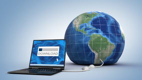 Downloading globe. Abstract 3d animation stock illustration