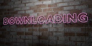 DOWNLOADING - Glowing Neon Sign on stonework wall - 3D rendered royalty free stock illustration. Can be used for online banner ads and direct mailers Stock Images
