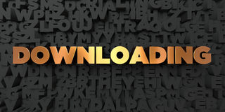 Downloading - Gold text on black background - 3D rendered royalty free stock picture Stock Photography