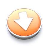 Downloading icon. Orange button concept Stock Photography