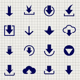 Downloading icon set on notebook page Royalty Free Stock Photo