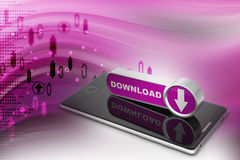 Downloading icon with smart phone. In color background Royalty Free Stock Photography