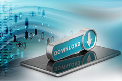 Downloading icon with smart phone. In color background Royalty Free Stock Photos