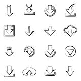 Downloading icons set. Hand drawn imitation downloading icons set  on white background. Vector line art icons design Royalty Free Stock Images