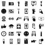 Downloading icons set, simple style Stock Photos