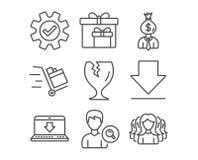 Downloading-, Internet-Downloading und Stoß karren Ikonen Lieferungskästen, Manager- und Service-Zeichen Lizenzfreies Stockbild