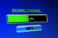 Downloading mp3. Closse up of Downloading mp3 Stock Photography