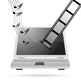 Downloading music and movies vector illustration
