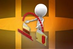 Downloading-Ordnerillustration des Mannes 3d Lizenzfreies Stockbild