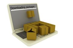 Downloading packages from the internet concept. Illustration of packages downloading process from internet Stock Photo