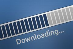 3D Close-up Downloading Progress bar with Downloading Wording Royalty Free Stock Photos