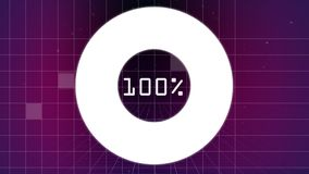 Downloading from 0 to 100 percent on circle with sizzle square falling behind on a grid in purple ba. Digital composite of downloading from 0 to 100 percent on royalty free illustration