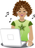 Downloading Tunes. Illustration of a young woman downloading and listening to music on her laptop computer Stock Image