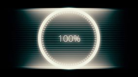 Downloading and uploading process animation with percentage. Science Futuristic Loading Circle Ring. Loading Transfer. Download Animation 0-100 royalty free illustration