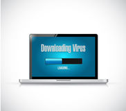 Downloading virus on a computer. Royalty Free Stock Photos