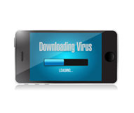 Downloading virus on a phone. Stock Image