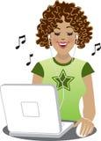 Downloading von Melodien Stockbild