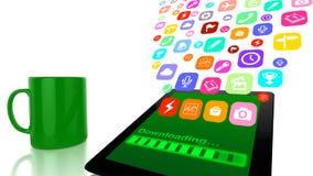 Downloadinganwendungen auf Tablette Lizenzfreie Stockbilder