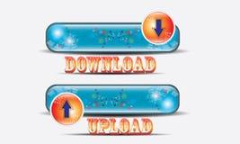 Downloadknoop en Vectororang-oetanpictogram Royalty-vrije Stock Foto's