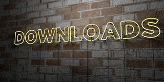 DOWNLOADS - Glowing Neon Sign on stonework wall - 3D rendered royalty free stock illustration Royalty Free Stock Photography